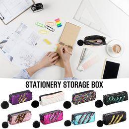 Big Storage Boxes Australia - Reversible Sequin Pencil Case for Girls School Supplies Super Big School Stationery Storage Box