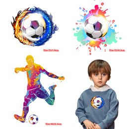 $enCountryForm.capitalKeyWord Australia - Soccer Thermal Transfer Multi-Colored Football Player Heat Transfer Printed for Clothing Kids Boy Decoration DIY Blue