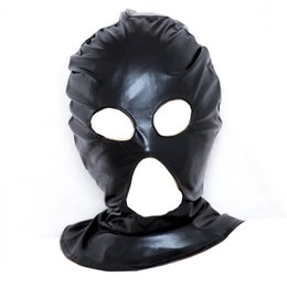 Sm gag maSk online shopping - Sexy Eyes Mouth Out PU Headgear Masks Hood SM Bondage Stuff Adult Sex toys