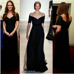 Wholesale navy blue kate dress for sale – plus size Simple Sexy Kate Middleton Celebrity Dresses Navy Blue A line Chiffon Formal Dress with Short Sleeves Elegant Evening Dress Long
