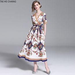 6bbd7b1b63a03 Women Dress Summer Spring Elegant Bodycon Vintage Party Runway Casual Print  Short Sleeve Midi Pleated Office Work Dresses