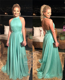 $enCountryForm.capitalKeyWord Australia - Backless Plus Size Cheap Prom Dresses 2019 A Line Halter Long Chiffon African Arabic Girls Formal Evening Party Gowns