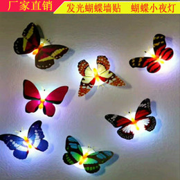 butterfly wall lamp UK - Hair butterfly small night LED colorful light flash light butterfly decoration light wall paste Butterfly