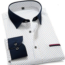 Dotted Shirts Australia - New Fashion 2019 Soft Quality Patchwork Collar Dots Men Shirts Slim Fit Long Sleeve Casual Business Male Blouses Boy Shirts