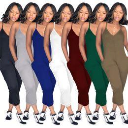 Blue Plus Size Jumpsuit Australia - Plus Size Summer Women Sleeveless Romper V Neck Strap Overalls Wide Legs Pants One Piece Tank Jumpsuit Loose Pants Clubwear Playsuit