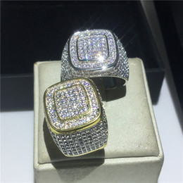 Wholesale Handmade Male Hiphop ring 925 Sterling silver Pave 5A Cz Stone Statement wedding band rings for Men Fashion Rock Party Jewelry