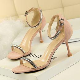 $enCountryForm.capitalKeyWord Australia - Superior2019 Thin Sexy 969-1 Woman High-heeled Shoes Fine High With Down Noodles Rhinestone One Word Bring Sandals