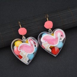 $enCountryForm.capitalKeyWord Australia - Retro Exaggerated Personality Color Hair Ball Embroidered Firebird Transparent Love Peach Heart Earrings E1511