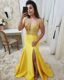 $enCountryForm.capitalKeyWord NZ - Sexy Yellow Mermaid Prom Dresses Side Split 2019 Sheer Neck Appliques Beaded Satin Evening Dress Vestido De Fiesta Party Wear