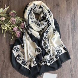 Ingrosso PROMOZIONE! LUXURY Sciarpe invernali TOP Quality! Cool Skull Scarf Chic Stylish Scarfs For Women Autumn Winter Lady's Muffler Scialli Wraps Hijabs