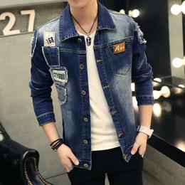 Jean patches online shopping - Hole Patch Denim Jeans Jacket Men Spring Winter Embroider Mens Jackets Jeans Slim Fit Jaqueta Plus Size XL Coat Male