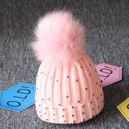 Bling Hats Wholesales Australia - New Baby Knitted Diamonds Hats Fur Pom Beanie Bling Bling Bobble Crochet Caps Winter Children's Big Hair Ball Wool Hat