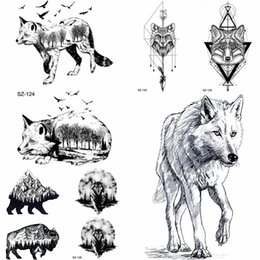 235f1070b YURAN Pencil Sketch Temporary Tattoo Men Arm Tribe Wolf Tattoo Stickers  Women Makeup Fox Water Transfer Tatoos Geometric Totem