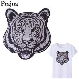tiger patches wholesale 2019 - Prajna Hand Embroidery Sliver Tiger Sewing On Backpack Sequin Patches Clothes Patch Sticker T-Shirt Decor Diy Appliques