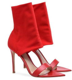 $enCountryForm.capitalKeyWord Australia - Hot Sexy Fashion Red Black Flock Peep Toe Shoes Thin Heels Mid-Calf Women Sandals Big Size Women Boots
