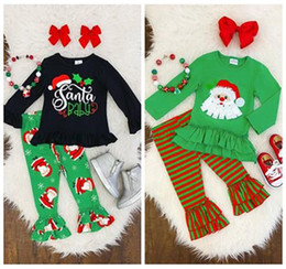 christmas clothes Australia - 2019 girls christmas clothes kids boutique clothing fall baby girl outfits childrens santa tshirts ruffle tops + striped pants 2pcs sets hot