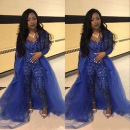 9010c903ad Evening Gowns Jumpsuits Long Sleeves Prom Dresses Detachable Train Lace  Applique Luxury African Party Womens Pant Suits