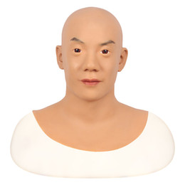 Discount realistic human masks Realistic Silicone Halloween Mask Face Of Human Skin For Spoof Fancy Ball Masquerade Crossdresser Shemale Performer Actor Movie Stage Prop