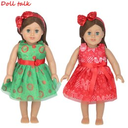 $enCountryForm.capitalKeyWord Australia - 18 Inch American Doll Dress With Bow Headband New Fashion Printed Long Christmas Skirt For Baby Dolls Clothes FIt 43cm Girl Doll