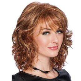 $enCountryForm.capitalKeyWord UK - Euro-American Hot selling 14 inch light brown color fringe short curly fashion hair wigs for white black women