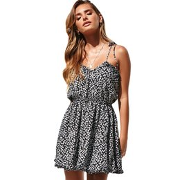 $enCountryForm.capitalKeyWord Australia - Women Summer Beach Dress Floral Print Sleeveless Backless Dress Tied Bandage Frill Open Back Mini Sexy Vacation Holiday Wear