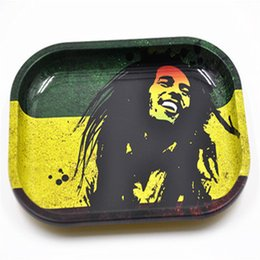 herb grinders wholesale bob marley NZ - Metal Tobacco Rolling Tray Storage Plate Discs For Smoke Bob Marley Herb Grinder Cigarette Holder Smoking Accessories