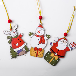Discount wooden crafts for kids - 3PCS Christmas Wooden Pendants Xmas Tree Ornaments Wood Crafts for Home Christmas Party DIY Decoration Kids Gift