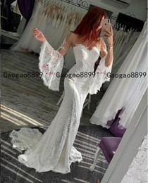 marchesa long dresses 2021 - 2020 real gorgeous Marchesa Illusion mermaid Wedding Dresses full lace with poet long sleeves boho Bridal Wedding Gowns Vestido de noiva