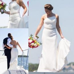 Strapless Satin Wedding Dresses Bridal Australia - 2019 Simple Beach Mermaid Wedding Dresses Plus Size Strapless Satin Sweep Train Backless Bridal Gowns Custom Made