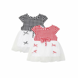Chinese  Infant Baby Girls Kids Dress Bow-Knot Plaid Ruffle Tulle Dresses Adorable Mesh Dress Summer Clothes 3-24M manufacturers