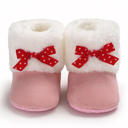Winter Snow Suits Australia - Baby Warm Winter Boots First Walkers Newly Baby Girls ShoesBow Pure Color Snow Boots Soft Toddler Warm Shoes Suit For 0-18M