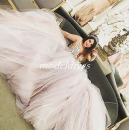 Silver quinceanera dreSSeS online shopping - Crystal Pink Princess Quinceanera Dresses Deep V Neck Hollow Back Major Beading Sweep Train Prom Party Gowns For Sweet Vestidos anos