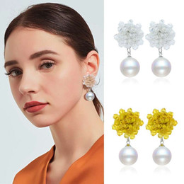 $enCountryForm.capitalKeyWord Australia - bohemian pearl dangle earrings for women luxury beads charm chandelier earring hot sale holiday style pearls pendants jewelry 6 colors pink