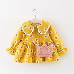$enCountryForm.capitalKeyWord Australia - Kids clothes New Girls peter pan collar cartoon print long-sleeved Girls baby dress baby clothing Toddler dress 0-3T