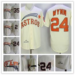 10955874b Mens Houston Colt 45s  24 Jimmy Wynn Jerseys Stitched Cream  35 Joe Morgan   2 Nellie Fox Jersey S-3XL