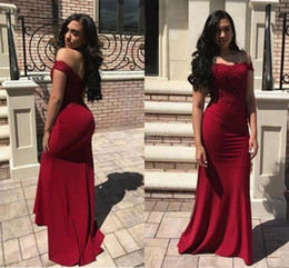 e5c56b1308af ChoColate training online shopping - Dark Red Mermaid Bridesmaid Dresses  Off Shoulder Backless Floor Length Appliques