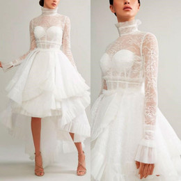 White Formal Evening Gown Sleeves Australia - Ashi Studio 2019 Evening Dresses A Line High Neck Hi-Lo Long Sleeves Lace Appliques White Formal Prom Dress Arabic Special Occasion Gowns