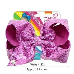 Ribbon Bowknot Bow Headband Australia - JOJO SIWA BOWS Mermaid Fish scale Bowknot Hairpins 8 Inches jojo Ins Ribbon Bow Baby Girls Barrettes Kids Bow-tie Hairpin Hair Accessories