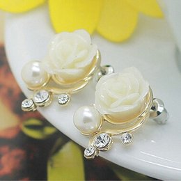White Rose Earrings Studs Australia - 1 Pair hot sale Fashion OL White Pink Rose Flower Shiny Crystal Rhinestone Pearl Stud Earrings For Women Earrings cute Gifts