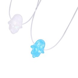 China Arabic Blue Lucky Necklace Synthesis Charm Fire Opal Hamsa Hand Necklace Amulet Hand of Fatima Pendant Transparent Chain Choker Necklace cheap arabic chain suppliers