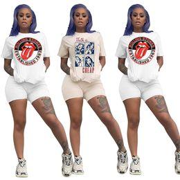 $enCountryForm.capitalKeyWord Australia - Summer Women tracksuits Big tongue lip letters Comic print Two Pieces Outfit short sleeve t shirt biker short white sets Clothing plus size