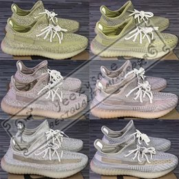 Glow liGht shoes online shopping - 3M Static Black Reflective Kanye West Antlia Synth Lundmark Gid Glow True Form Clay Zebra Cream White Running Shoes Designer Sneakers