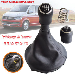 $enCountryForm.capitalKeyWord Australia - 5 6 Speed Gear Shift Knob Manual Shifter HandBall With Gaiter Leather Boots Cover For VW Transporter T5 T5.1 Gp T6