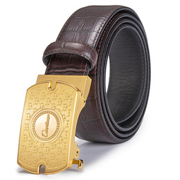 Automatic Buckle Leather Belt Crocodile UK - Ciartuar Belts Men' Top Leather Belt with Automatic Buckle Crocodile Embossed Strap Fashion Leisure Free S
