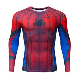 t shirt super hero Canada - Men 's long sleeve t-shirts American captain, iron man, spider - man Super hero animated quick - drying long - sleeved Ypf573