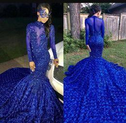 $enCountryForm.capitalKeyWord Australia - Luxury Long Tail Royal Blue 2019 Black Girls Mermaid Prom Dresses High Neck Long Sleeves Beaded Handmade Flowers Evening Party Gowns
