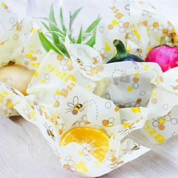 food wax paper UK - Reusable Beeswax Cloth Wrap Food Fresh Bag Lid Cover Stretch Lid Jungle Party Bees Wax Wrap Plastic Wrap Mesh Storage Bag
