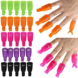 Vente en gros Nail Art en plastique tremper hors Clip UV Gel Dissolvant Polonais Wrap Tool Nail Art Conseils pour doigts 10Ppcs / set RRA818