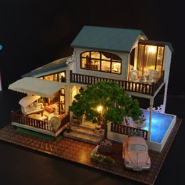 wooden doll house handmade NZ - Diy Model Doll Casa Miniature Dollhouse With Furnitures Led 3d Wooden House Toys For Children Gift Handmade Crafts A039 #e Q190611