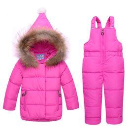 Kids Linen Suits Canada - good quality kids girl winter clothes set girls down coat children warm toddler warm velvet outerwear+ romper clothing suits